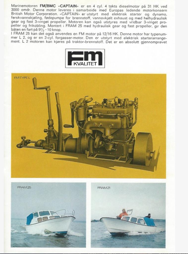 Brosjyre om Fram-båter og FM-motor