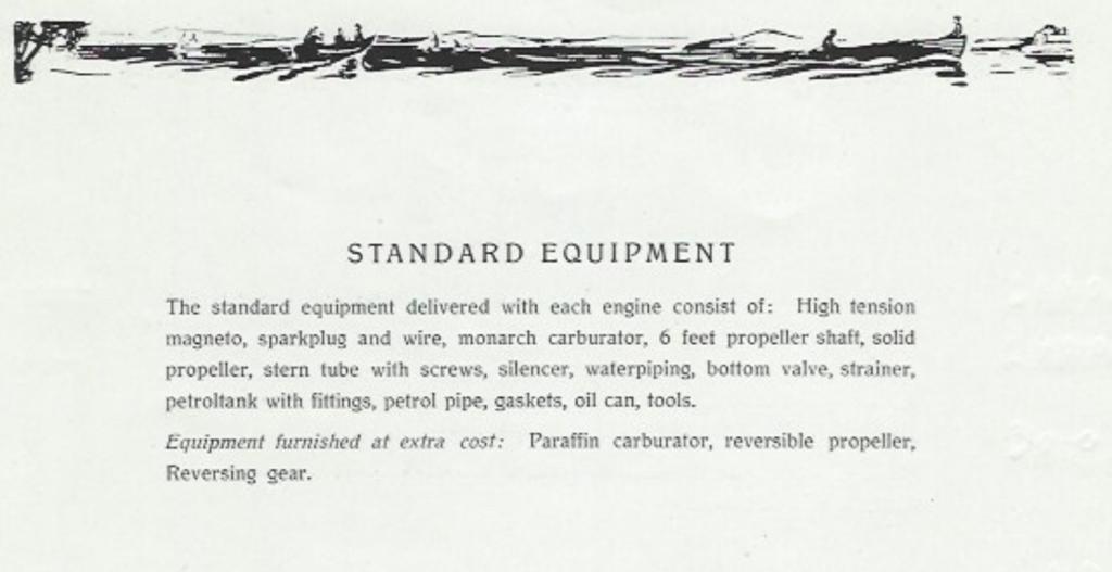 Standard utstyr på motorene